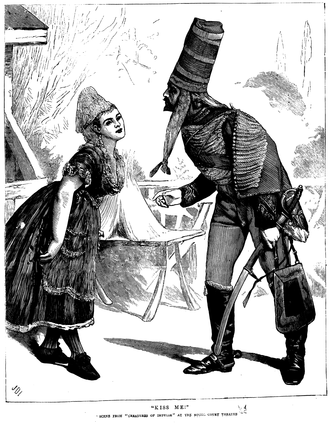 Creatures of Impulse - Pipette throws herself at the Sergeant, in an illustration from The Graphic, 1871.