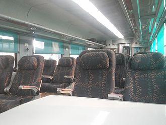 LHB coaches - The interior of LHB executive class or 1A coach of New Delhi Dehradun Shatabdi Express.