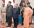 The President, Shri Pranab Mukherjee at a dinner hosted by the Governor of Telangana and Andhra Pradesh, Shri E.S.L. Narasimhan, in Hyderabad on June 30, 2015.jpg