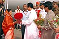 The President, Smt. Pratibha Devisingh Patil being welcomed by the Governor of Maharashtra and Goa, Shri S C Jamir, at the Chhatrapati Shivaji Airport, in Mumbai on July 07, 2008.jpg