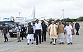 The Prime Minister, Shri Narendra Modi arrives at Ahmedabad, in Gujarat on June 29, 2017. The Chief Minister of Gujarat, Shri Vijay Rupani and the Deputy Chief Minister of Gujarat, Shri Nitinbhai Patel are also seen.jpg