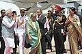 The Prime Minister, Shri Narendra Modi being welcomed on his arrival at Hazrat Shahjalal International Airport, in Kurmitola, Dhaka on June 06, 2015.jpg
