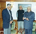 The Prime Minister Shri Atal Bihari Vajpayee is being presented with a PAN card by the Finance Minister Shri Jaswant Singh and Chairman CBDT Shri P.L. Singh, in New Delhi on January 24, 2004.jpg
