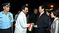 The Prime Minister of Socialist Republic of Vietnam, Mr. Nguyen Tan Dung being seen off by the Minister of State for Agriculture and Food Processing Industries, Dr. Sanjeev Kumar Balyan, in New Delhi on October 28, 2014.jpg