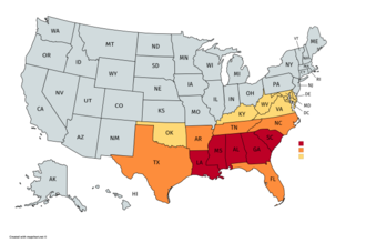 Deep South - Approximate geographic definition of the Deep South and the greater Southern United States. The Deep South is consistently thought to include most or all of the states shown in red and extend into portions of those in orange. While the Census Bureau considers those in yellow to be part of the South, they are not typically attached to the Deep South geographic label.