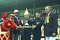 The Union Home Minister, Shri Shivraj Patil giving away the prizes at the closing ceremony of 6th All India Police Band Competition, organised by the Central Reserve Police Force (CRPF) in New Delhi on February 25, 2005.jpg