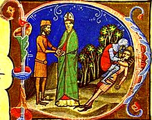 Illuminated manuscript with bishop, a man and a soldier blinding Peter