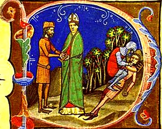 Peter, King of Hungary - The blinding of Peter, as depicted in the Illuminated Chronicle