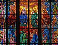 The central part of the Pentecost stained glass in St. Andrew chapel of St. Vitus Cathedral, Prague.jpg