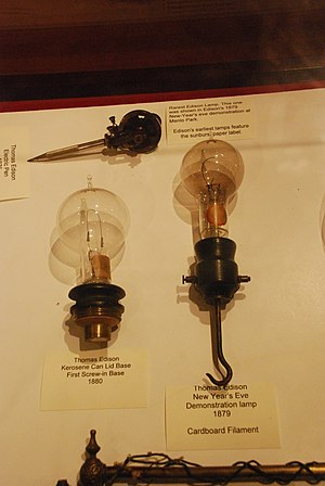English: Thomas Edison Lightbulbs 1879-1880