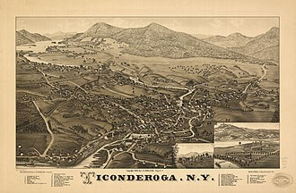 Ticonderoga, New York - Perspective map of Ticonderoga with list of landmarks from 1884 by L.R. Burleigh