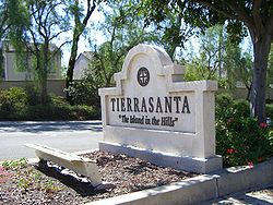 The Tierrasanta sign located on Santo Road