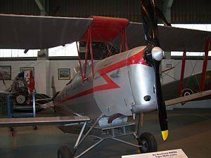 De Havilland Aircraft Museum - DH82 Tiger Moth, G-ANRX, with crop spraying equipment