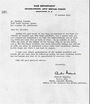 Dimitri Tiomkin - Army letter thanking Tiomkin