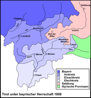Tyrolean Rebellion - Tyrolean districts, 1808