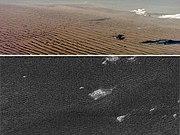 Dunes de sable sur la Terre (en haut), comparées aux dunes à la surface de Titan (en bas).