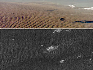 Sand dunes on Earth (top), compared with dunes on Titan's surface.