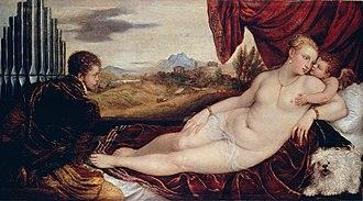 Venus and Musician - Gemäldegalerie Berlin, organist, dog and Cupid, 115 x 210 cm