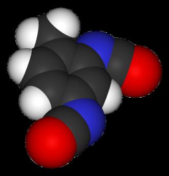 Toluene diisocyanate - Image: Toluene 2,4 diisocyanate 3D vd W