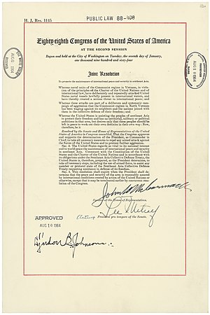 88th United States Congress - Tonkin Gulf Resolution