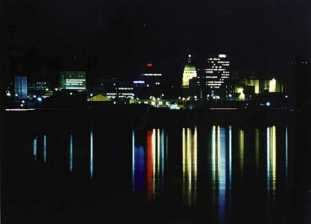 Downtown Topeka skyline at night, seen from the Kansas River (2005)