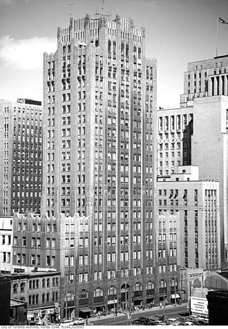 Daily Planet - Old Toronto Star Building, demolished in 1972, was Shuster's model for the Daily Planet Building.