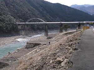 Tropical Storm Talas (2011) - Aftermath of river flooding in Totsukawa, Nara