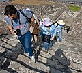 Tourists climbing lower stairs of Pyramid of the Sun at Teotihuacan.jpg