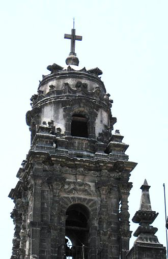 La Santísima Church - Bell tower of the church shaped like a pontiff's hat