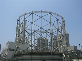 The Hong Kong and China Gas Company - The gasometer of the company at Ma Tau Kok, Hong Kong.