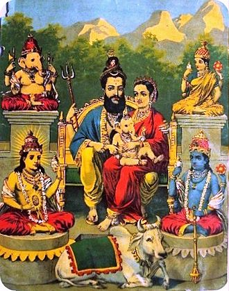 Oleograph by Raja Ravi Varma depicting a Shiva-centric Panchayatana. A bearded Shiva sits in the centre with his wife Parvati and their infant son Ganesha; surrounded by (clockwise from left upper corner) Ganesha, Devi, Vishnu, and Surya. Shiva's mount is the bull Nandi below Shiva. Traditional Indian Print by Artist Raja Ravi Varma.jpg