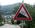 Traffic sign Slope Gefälle 20 per cent (Germany).JPG