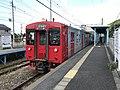 Train for Nishi-Karatsu Station at Dainyu Station.jpg
