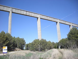 Tagus-Segura Water Transfer - Part of one of the transfer system's aqueducts in its passage through Carrascosa del Campo (Cuenca).