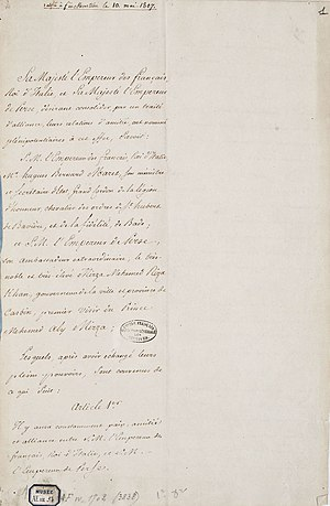 Franco-Persian alliance - The Treaty of Finckenstein between Persia and France, ratified 10 May 1807.