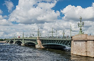 Trinity Bridge, Saint Petersburg bridge over Neva river in Saint Petersburg, Russia