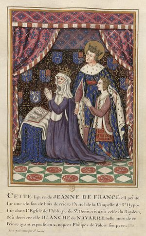 Joan of France (1351–1371) - Joan with her mother, Blanche of Navarre, and Saint Louis.
