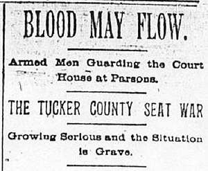 Tucker County Seat War - A headline from The Intelligencer warns of violence following the courthouse raid in 1893