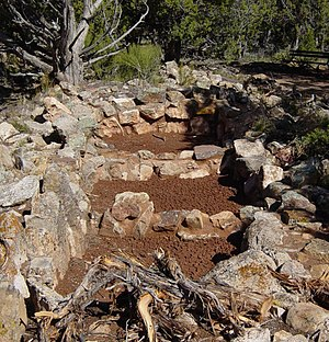 History of the Grand Canyon area - Ancestral Pueblo food storage building ruins at Tusayan Pueblo
