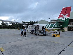 Twin Otter of Air Seychelles at Praslin Airport.jpg