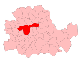 Cities of London and Westminster (UK Parliament constituency) - Cities of London and Westminster in the Parliamentary County of London, showing boundaries used from 1950 to 1974