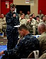 U.S. Navy Rear Adm. Ann C. Phillips, commander of Expeditionary Strike Group 2, briefs her commander's intent to Marines, Sailors and coalition partners at a rehearsal of concept drill for Bold Alligator 2013 130420-M-EG384-005.jpg
