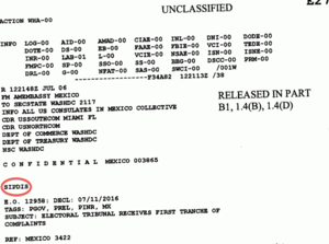 "SIPRNet - Header of an unclassified Department of State telegram with the ""SIPDIS"" tag marked in red"