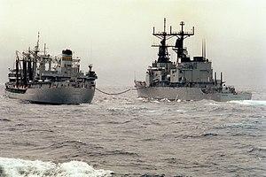 USNS Kawishiwi (T-AO-146) refueling USS Chandler (DD-996) 1983.JPEG