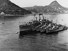 USS Ajax (AR-6) at Sasebo with destroyers, December 1952