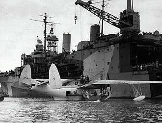 Cuba during World War II - Image: USS Albemarle with PBM Guantanamo 1 1945