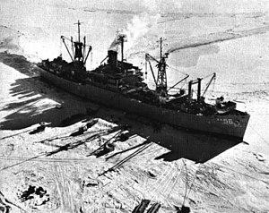 USS Arneb (AKA-56) - USS Arneb (AKA-56) in Antarctica c1961