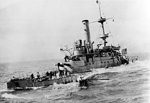 The USS Monadnock crossing the Pacific Ocean during the Spanish–American War.