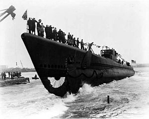 Piranha (SS-328), is launched at Portsmouth Navy Yard, 10 October 1943.