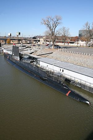 USS Razorback (SS-394) - USS Razorback in the Arkansas River.